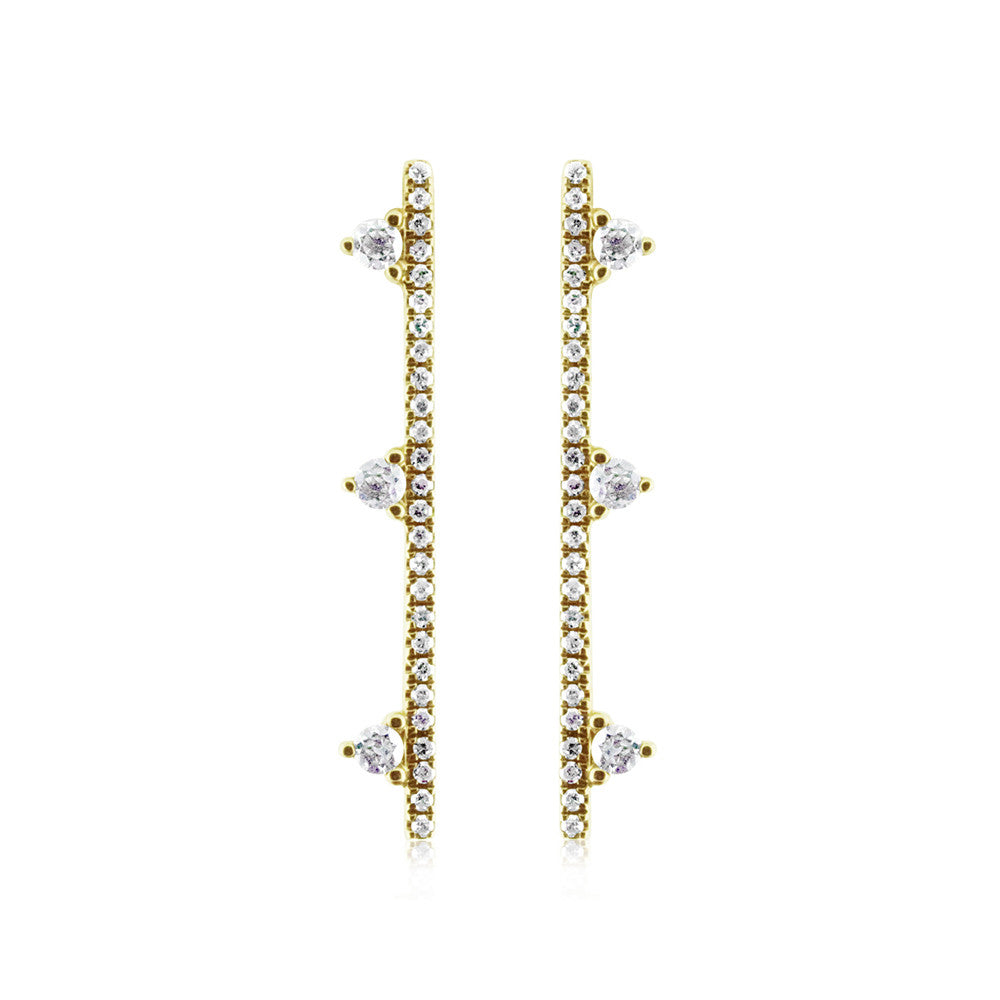 Three Diamond Bar Earrings Yellow Gold