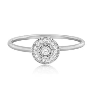 Pave Diamond Halo Ring White Gold