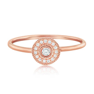 Pave Diamond Halo Ring Rose Gold