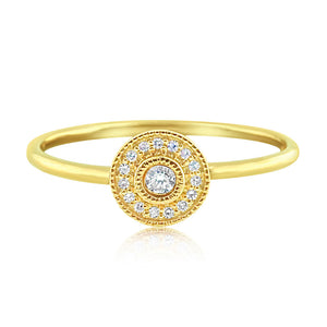 Pave Diamond Halo Ring Yellow Gold