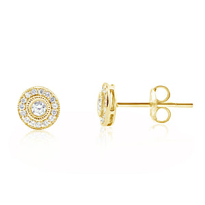Diamond Halo Earrings Yellow Gold