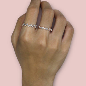 Baguette and Round Diamond Zig Zag Ring Yellow Gold