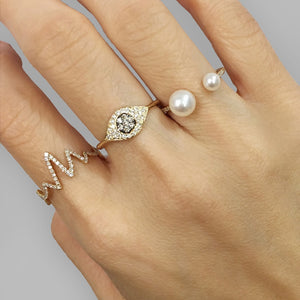Diamond and Pearl Open Ring Rose Gold