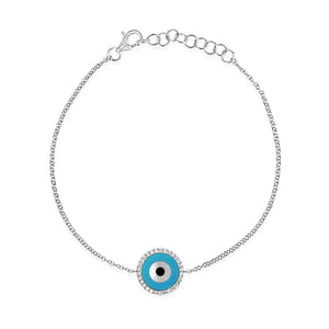 Round Evil Eye Bracelet White Gold