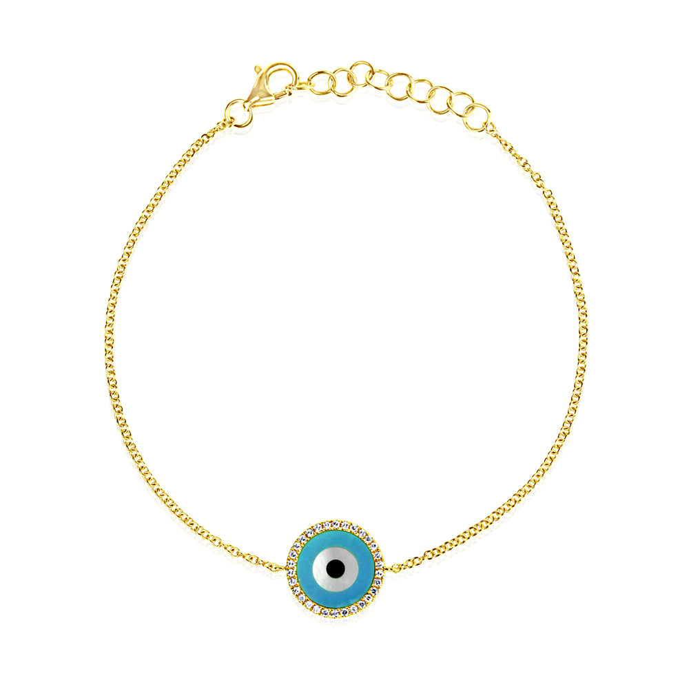 Round Evil Eye Bracelet Yellow Gold