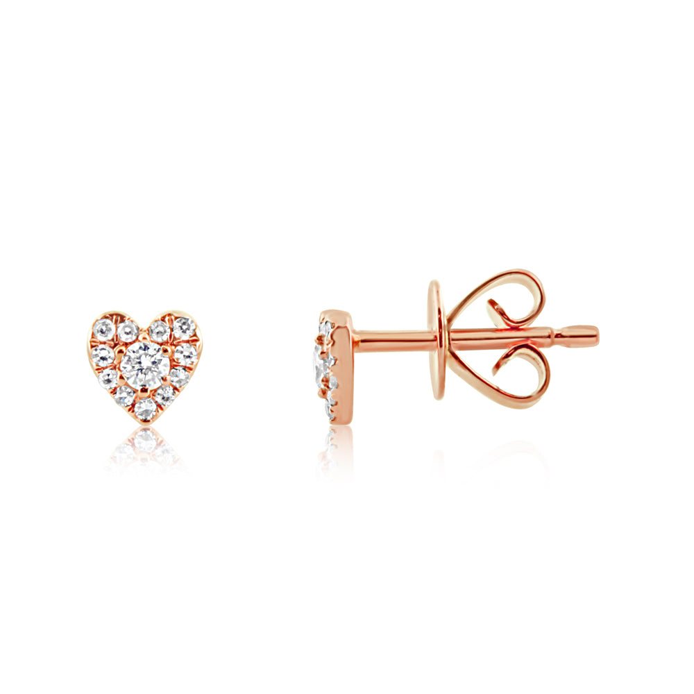 Mini Diamond Heart Earrings Rose Gold