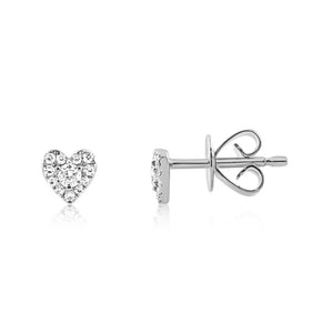 Mini Diamond Heart Earrings White Gold