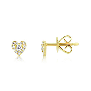 Mini Diamond Heart Earrings Yellow Gold