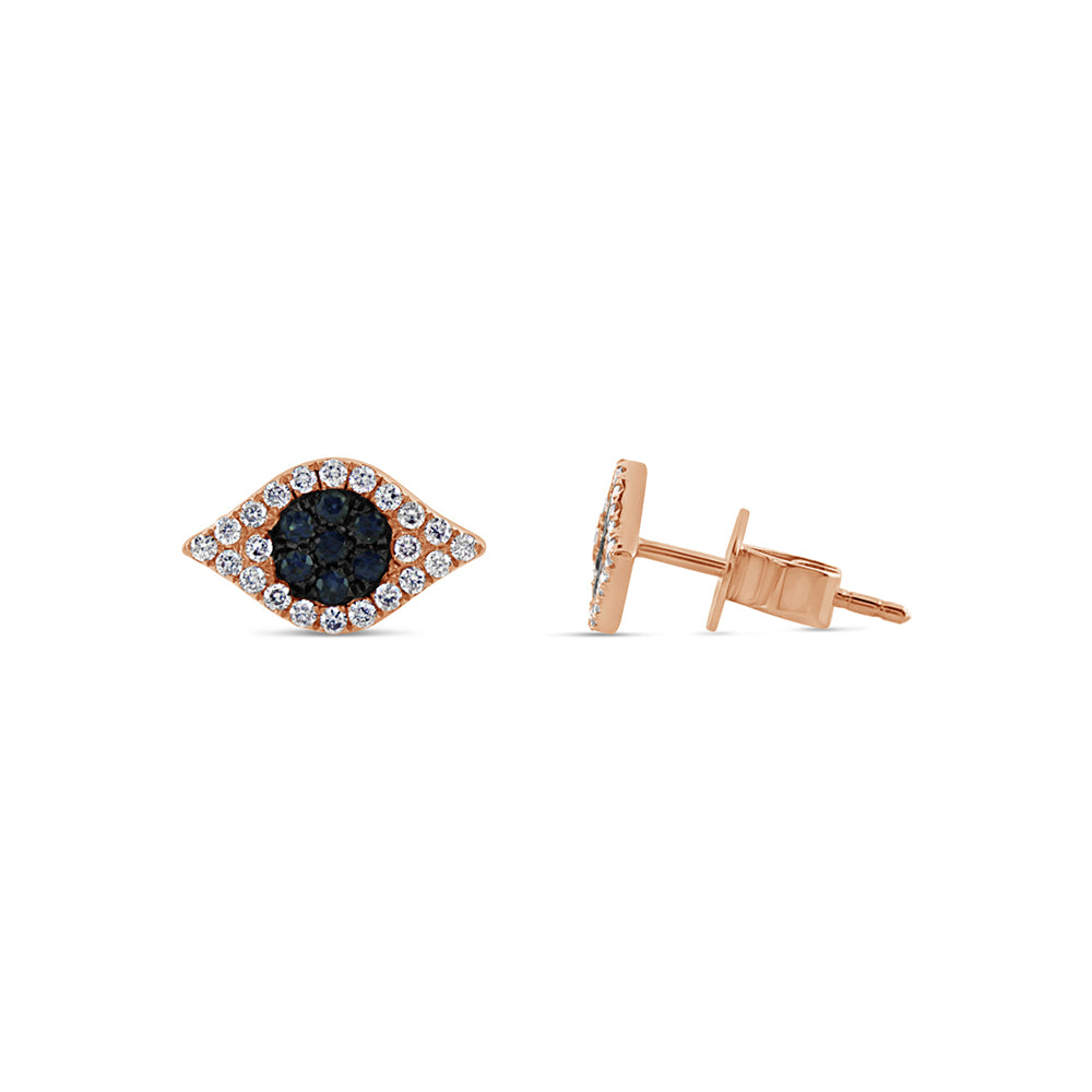 Sapphire and Diamond Evil Eye Earrings Rose Gold