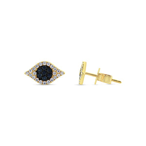 Sapphire and Diamond Evil Eye Earrings Yellow Gold