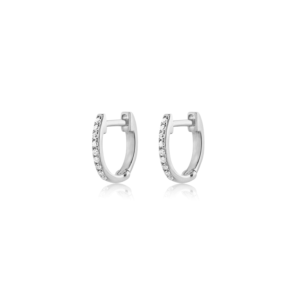Mini Diamond Hoop Earrings White Gold