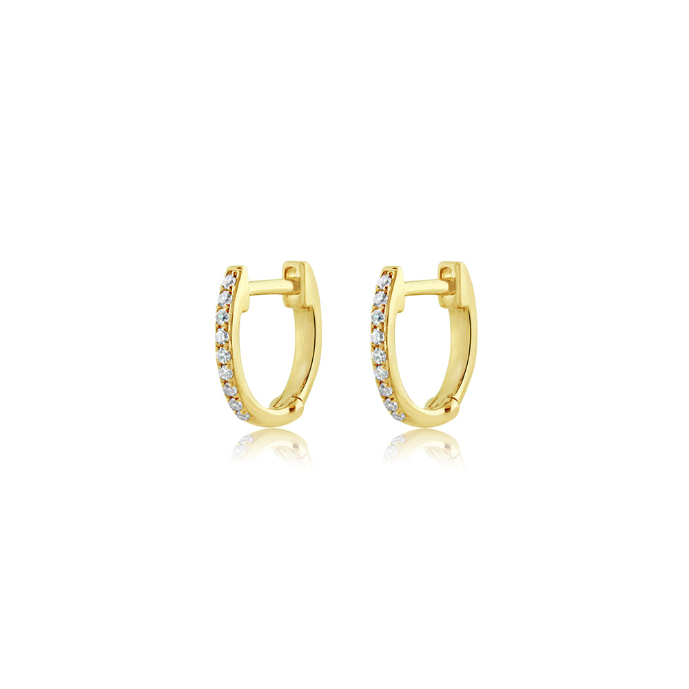 Mini Diamond Hoop Earrings Yellow Gold