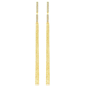 Diamond Vertical Bar Tassel Earrings Yellow Gold