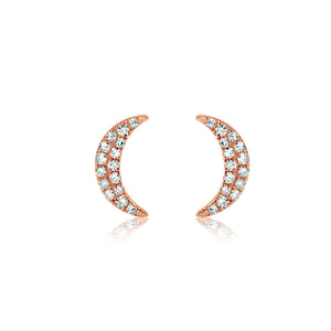 Diamond Crescent Moon Earrings Rose Gold