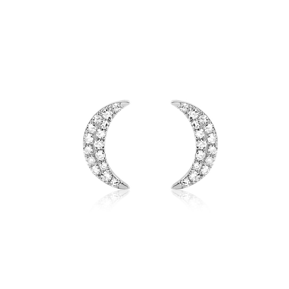 Diamond Crescent Moon Earrings White Gold