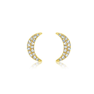 Diamond Crescent Moon Earrings Yellow Gold