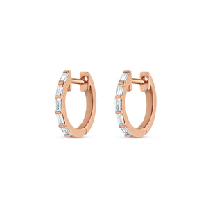Thin Baguette Diamond Huggie Earrings Rose Gold