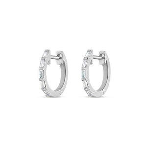 Thin Baguette Diamond Huggie Earrings White Gold