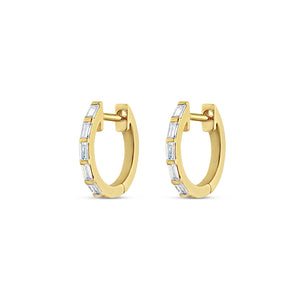 Thin Baguette Diamond Huggie Earrings Yellow Gold