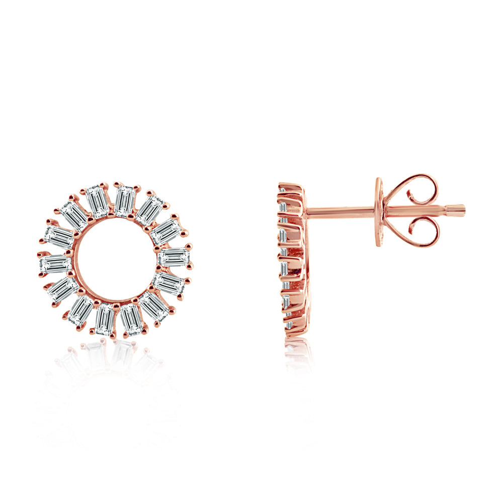 Baguette Diamond Circle Earrings Rose Gold