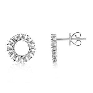 Baguette Diamond Circle Earrings White Gold