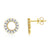 Baguette Diamond Circle Earrings Yellow Gold