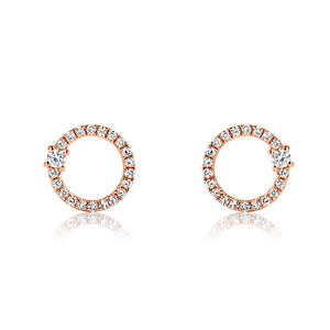 Diamond Orbit Earrings Rose Gold