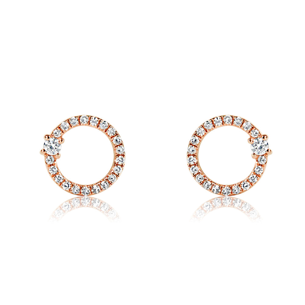 Single Diamond and Diamond Circle Earrings Rose Gold