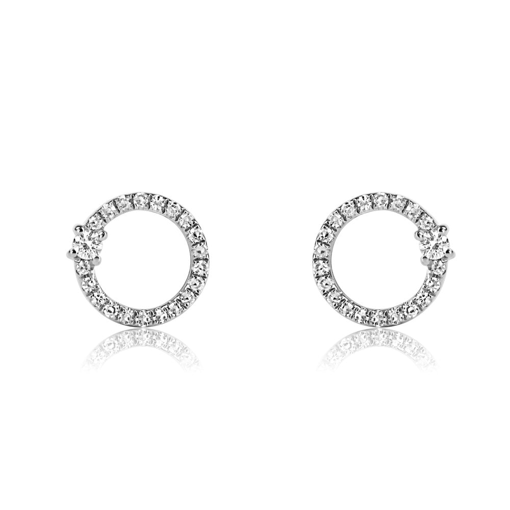 Single Diamond and Diamond Circle Earrings White Gold
