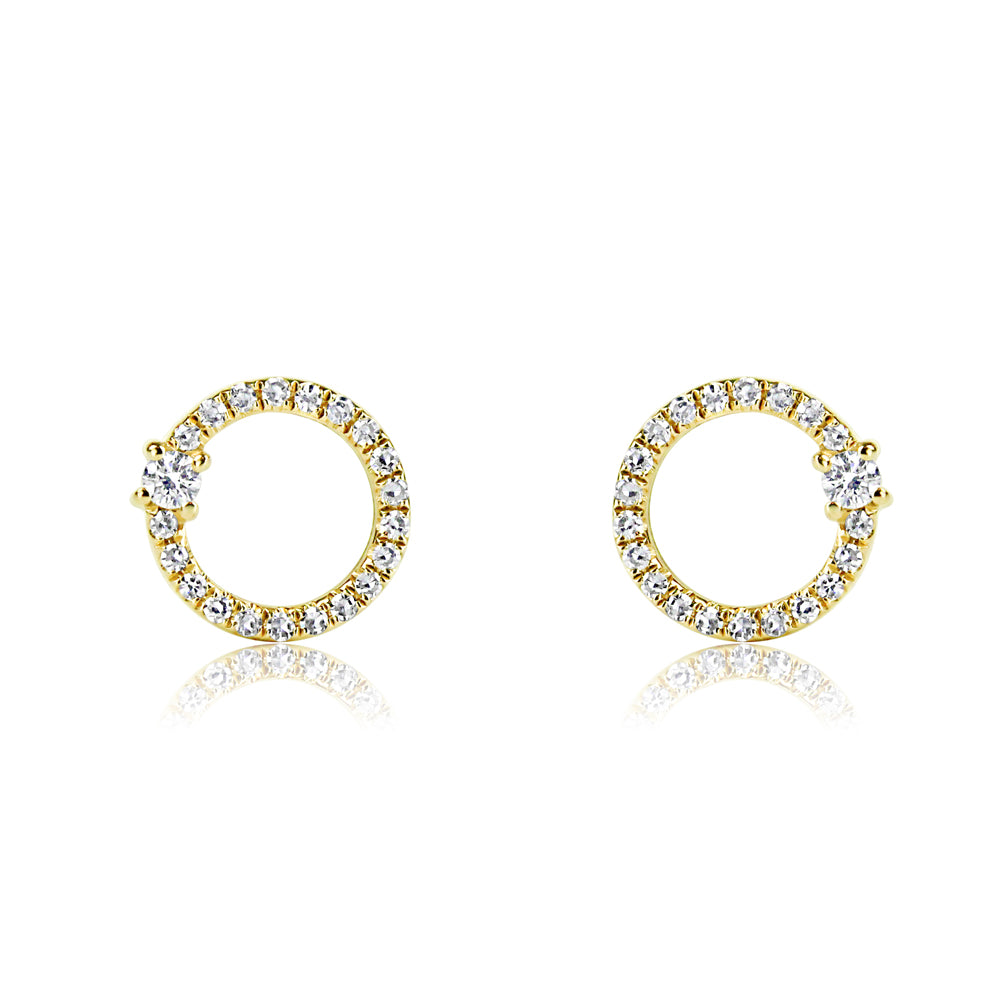 Diamond Orbit Earrings Yellow Gold