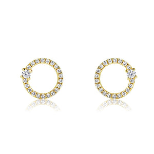 Single Diamond and Diamond Circle Earrings Yellow Gold