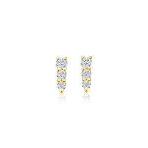 Three Diamond Graduated Bar Earrings Yellow Gold