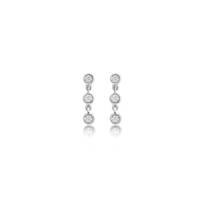 Three Bezel Diamond Chain Earrings 14K White Gold
