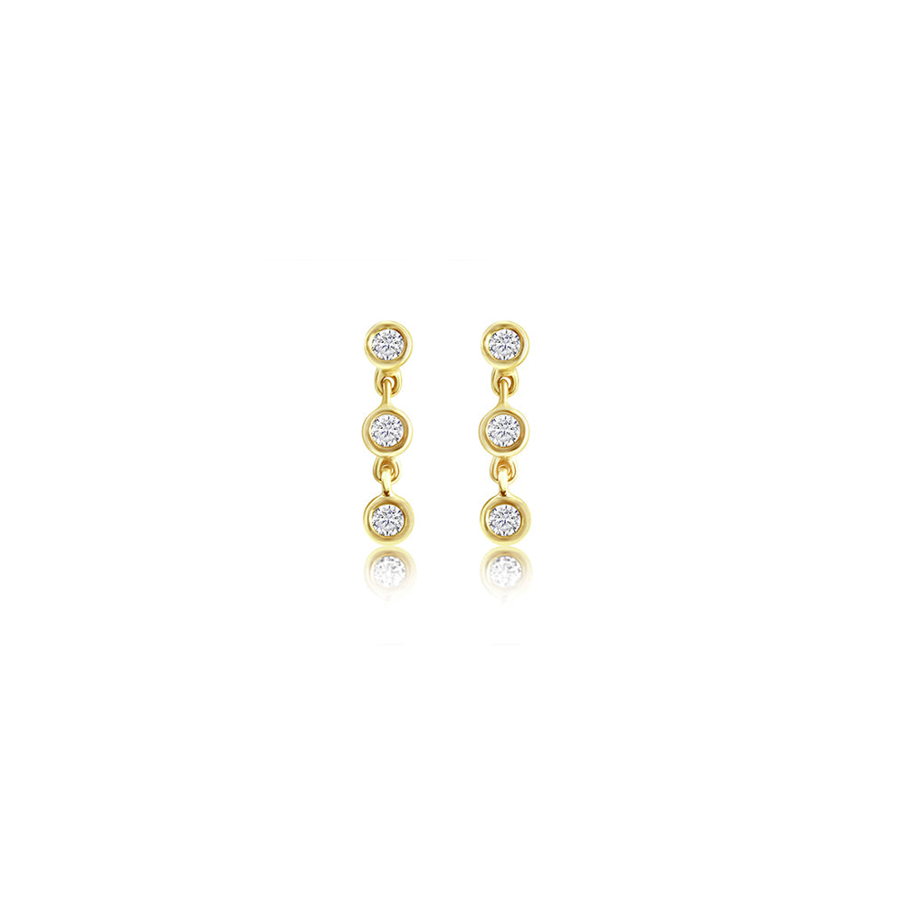Three Bezel Diamond Chain Earrings 14K Yellow Gold