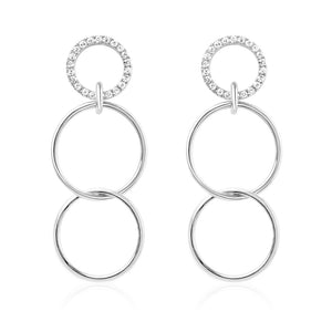 Diamond Three Linked Hoops Earrings White Gold