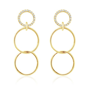 Diamond Three Linked Hoops Earrings Yellow Gold