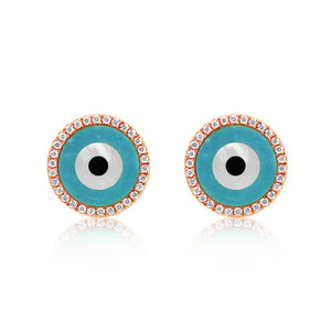Round Evil Eye Earrings Rose Gold