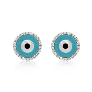 Round Evil Eye Earrings White Gold