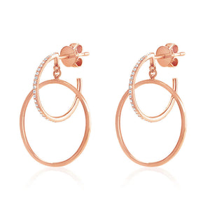 Diamond Double Hoop Earrings Rose Gold