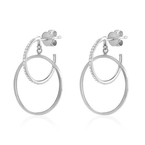 Diamond Double Hoop Earrings White Gold