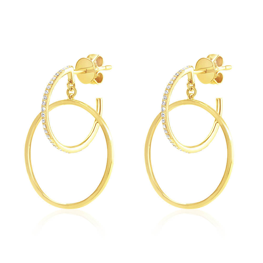 Diamond Double Hoop Earrings Yellow Gold