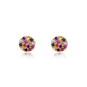 Rainbow Disc Earrings Rose Gold