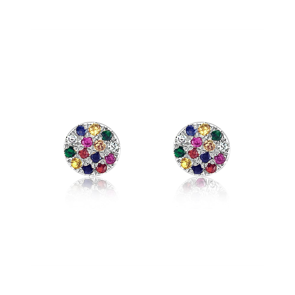 Rainbow Disc Earrings White Gold