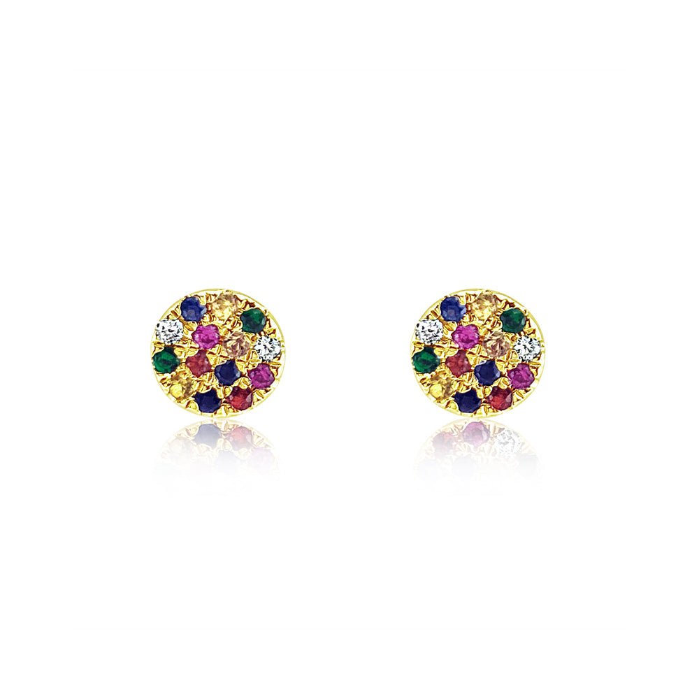 Rainbow Disc Earrings Yellow Gold