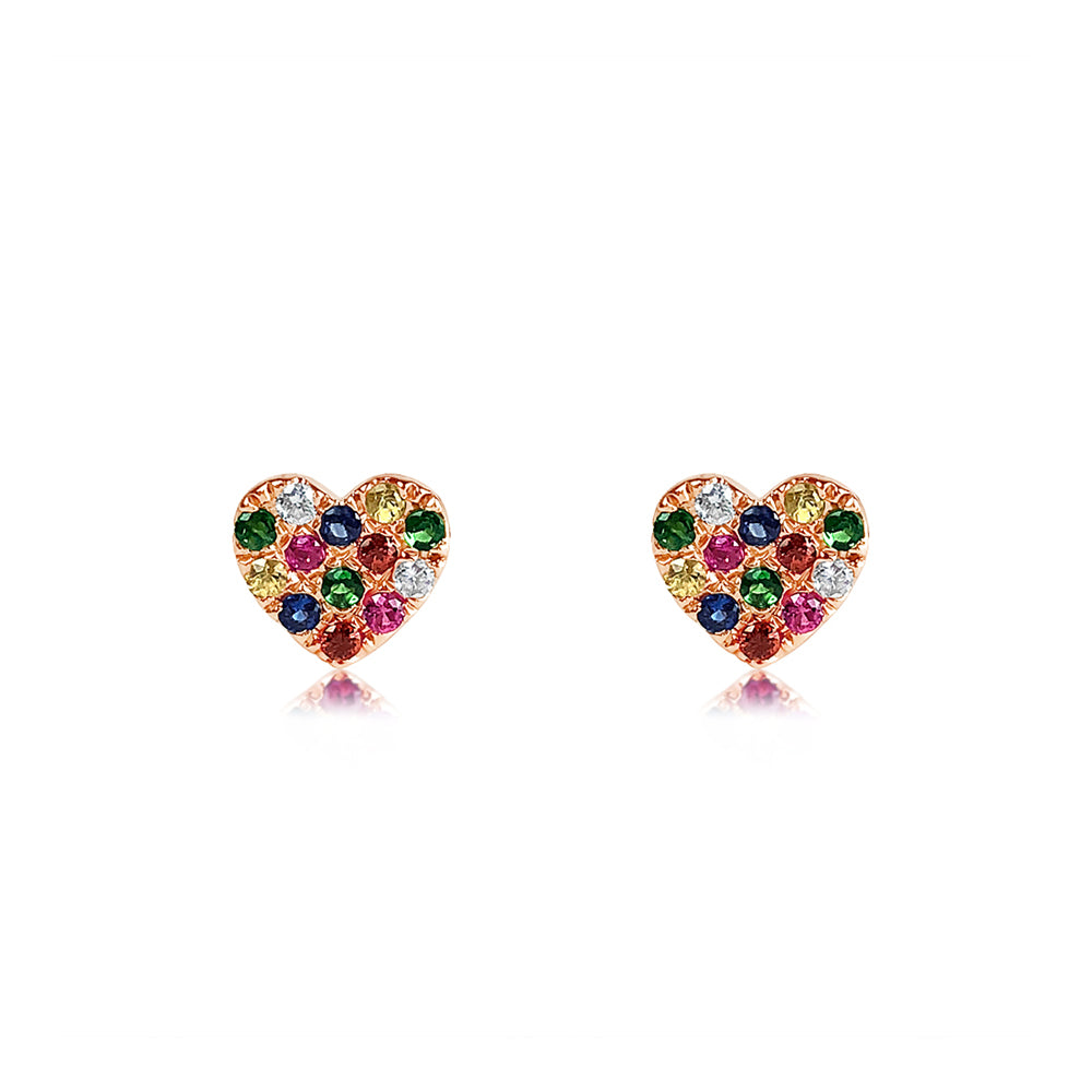 Rainbow Heart Earrings Rose Gold