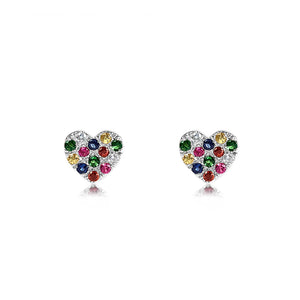 Rainbow Heart Earrings White Gold
