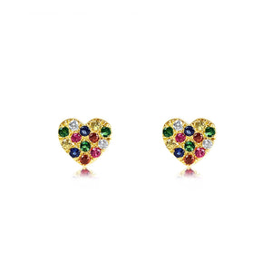 Rainbow Heart Earrings Yellow Gold