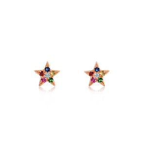 Rainbow Star Earrings Rose Gold