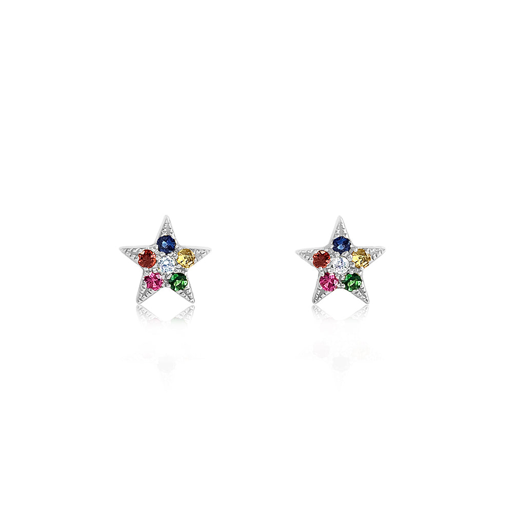 Rainbow Star Earrings White Gold