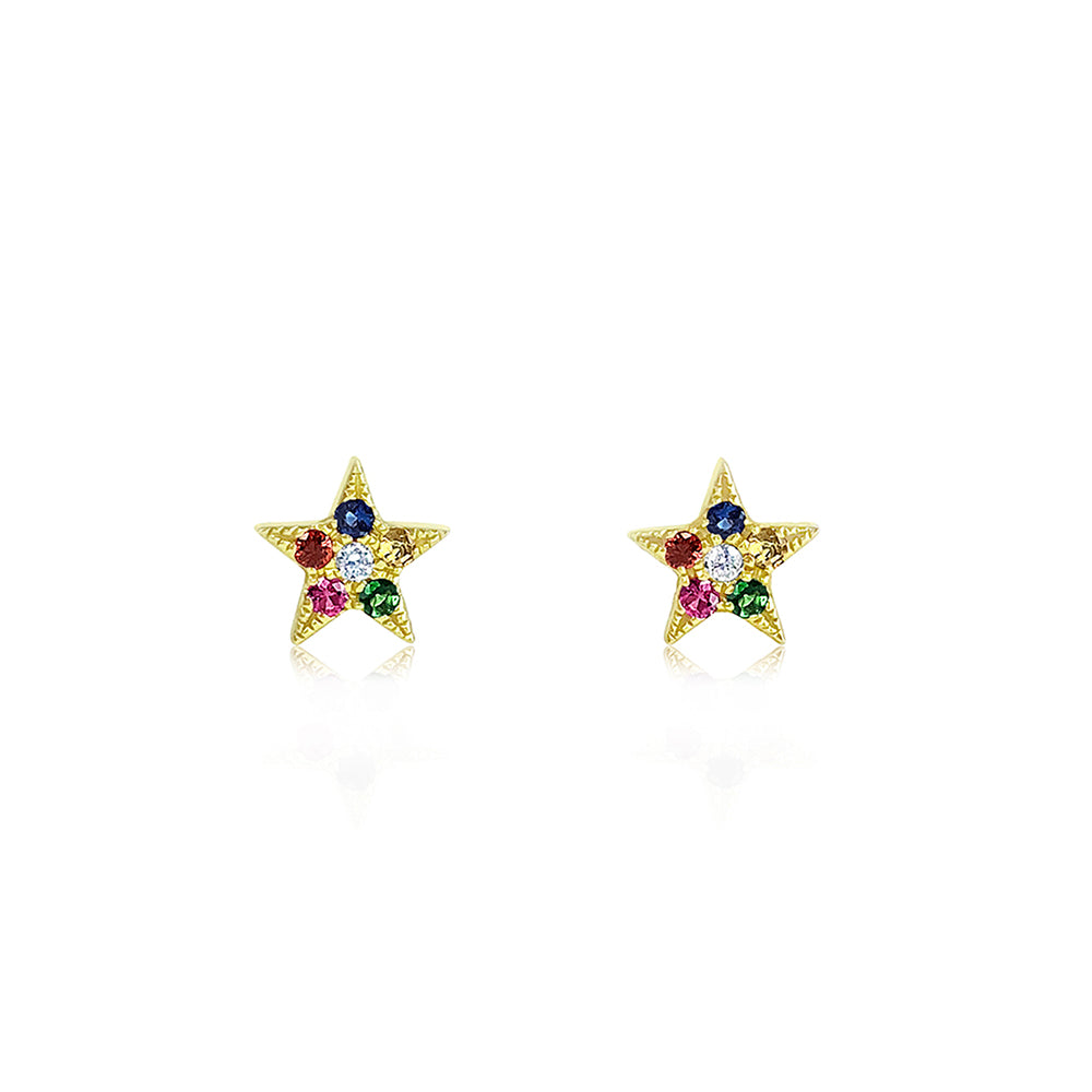 Rainbow Star Earrings Yellow Gold